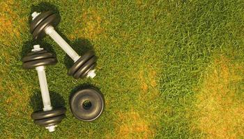 Vista superior de un gimnasio de metal pesas sobre el césped, 3D Render foto