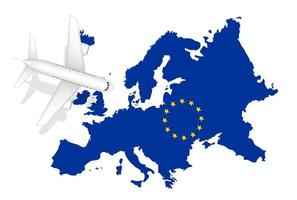 airplane flight travel to europe on europe map vector