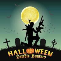 cazador de zombies de halloween con rifle en el cementerio vector