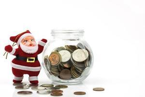 Money with Santa decoration photo