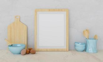 Mockup of a wooden frame with kitchen accessories and eggs on the sides, 3d rendering
