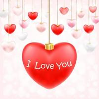 valentine hanging heart with i love you vector