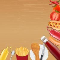 pollo patatas fritas salchicha salsa de tomate pimiento vector