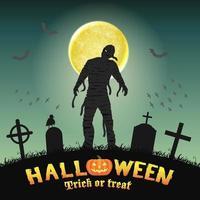 halloween spooky mummy in a night graveyard vector