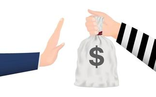 hand rejecting money bag from thief hand vector