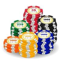pile of a real colorful casino chips vector