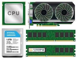 La CPU de la tarjeta gráfica de disco duro ram sobre fondo blanco. vector