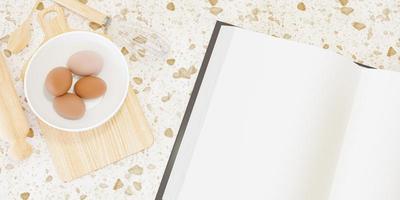 Accesorios de cocina de madera para hacer pasteles con un gran libro en blanco junto a ellos y huevos dentro de un tazón, representación 3D foto