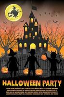 halloween kids costume party in front of witch haunted castle poster vector