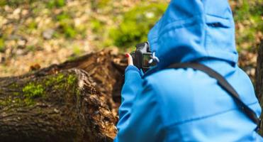 Girl taking pictures with reflex camera in nature photo