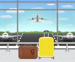 suitcase and travel bag in airport terminal vector