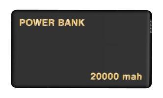 Banco de energía negro real sobre fondo aislado vector