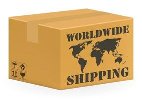 real corrugated carton box with worldwide shipping vector
