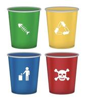 set of color bin on a white background vector