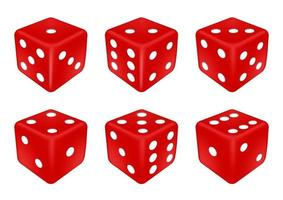 set of a red dice three dimensions vector