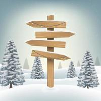 Tablero de dirección de madera de navidad firmar en bosque nevado vector