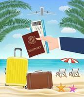 hand hold passport boarding pass travel to beach vector