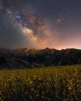 Panoramic of the colorful milky way over some mountains