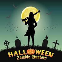 halloween zombie hunter with shotgun in graveyard vector