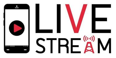 smartphone mobile broadcast  live stream logo vector