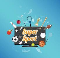 Super Sport on smart television screen with sport equipment floating on exploded smart television vector