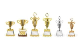Gold silver bronze trophy vector