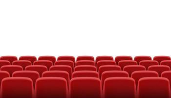 filas de asientos rojos de cine o teatro vector