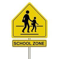 Signo de zona escolar sobre un fondo blanco. vector