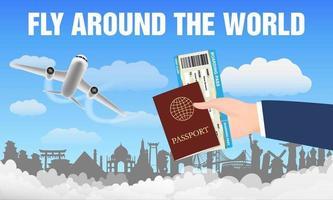 avión vuela alrededor del mundo y pasaporte de mano. vector