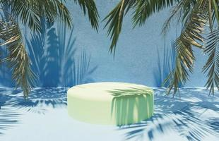 Cylindrical stand for product presentation with palm leaves around and blue cement surface, 3d render photo