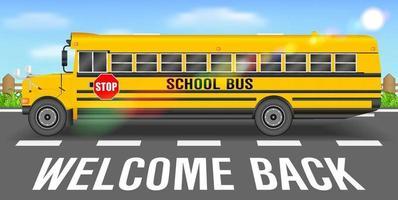 autobús escolar en la carretera de regreso a la escuela vector