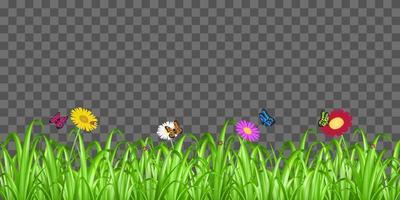 grass flower butterfly on transparent background vector