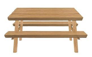 Mesa de picnic de madera sobre un fondo blanco. vector
