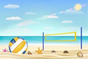 Voleibol de playa y net en una playa de arena con fondo de cielo de mar traer vector