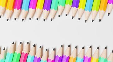 Hileras onduladas de lápices de madera de todos los colores, representación 3D foto