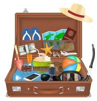 open suitcase bag with beach travel object vector