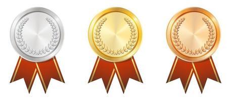 A Gold Silver Bronze badge vector