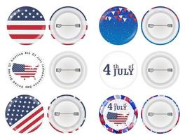 steel round brooch 4th of july and america flag theme vector