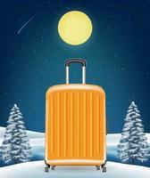 Bolsa de equipaje de viaje en el fondo del lago de invierno vector