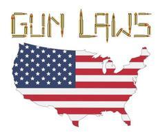 bullet gun control laws with america flag vector