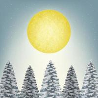 full moon with top of pine forest and snow winter vector