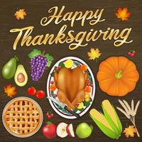 happy thanksgiving celebration festival banner with food and fruit vector