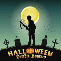halloween zombie hunter with crossbow in graveyard vector