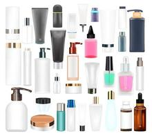 set of a real cosmetic tube and bottle vector