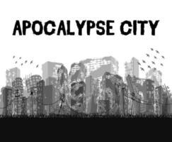 silhouette ruined apocalypse city building vector eps10