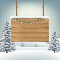 christmas wood board sign with snow winter vector