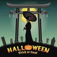 halloween japan two face geisha ghost in graveyard vector