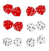 red and white dice on a white background vector