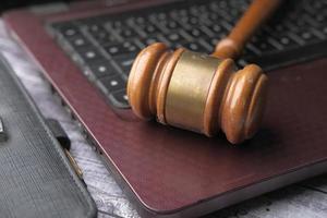 Gavel on laptop close-up