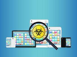 virus detectados en teléfonos inteligentes y tabletas vector